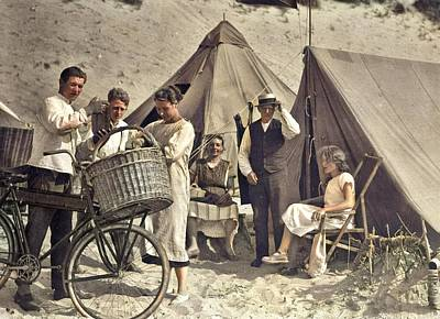 Door Locks And Handles Rights Managed Images - Bakers boy delivering bread to seaside visitors camping on the beach. The Netherlands, 1923. colori Royalty-Free Image by Ahmet Asar