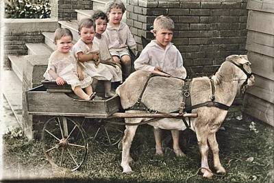 Popstar And Musician Paintings Royalty Free Images - Barefoot kids and a goat colorized by Ahmet Asar Royalty-Free Image by Ahmet Asar