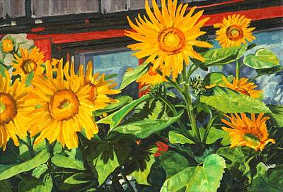 Painting - Barnyard Sunflowers by Phil Chadwick