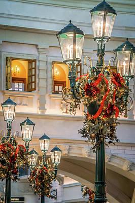 Photograph - Beautiful Indoor Christmas Decorations Around Venetian Palazzo F by Alex Grichenko
