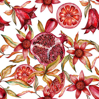 Beautiful Watercolor Seamless Pattern With Fruits And Flowers Of Pomegranate Original