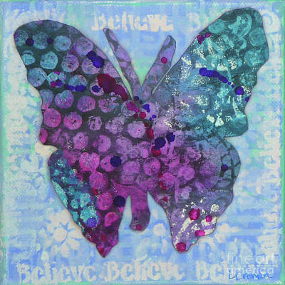 Mixed Media - Believe Butterfly by Lisa Crisman