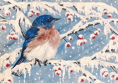 Painting - Berry Bluebird by Jennifer Lake