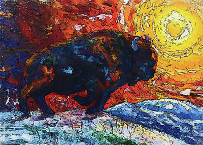 Painting - Bison Running Print Of Olena Art Wild The Storm Oil Painting With Palette Knife  by OLena Art Brand