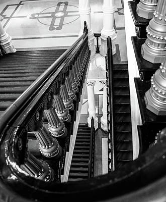 Photograph - Black And White Staircase by Dan Sproul