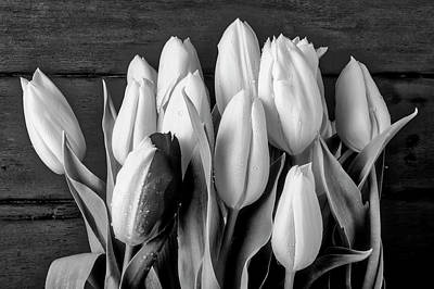 Flowers And Water Drops Wall Art - Photograph - Black And White Tulips by Garry Gay