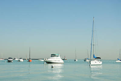 Recreational Boat Photograph - Boats On Lake Michigan by Weible1980
