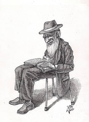 Drawing - Bookish Man by Victor Molev