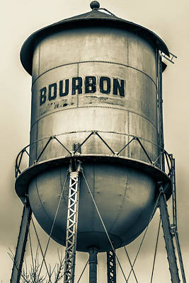 Photograph - Bourbon Whiskey Sepia Water Tower by Gregory Ballos