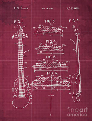 Musicians Drawings Rights Managed Images - BOW PLAYABLE GUITAR Patent Year 1982 Royalty-Free Image by Drawspots Illustrations