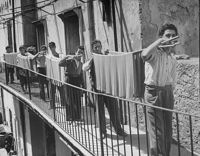Photograph - Boys Working In Pasta Factory Carry by Alfred Eisenstaedt