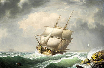 Painting - Brig Off The Maine Coast by Fitz Henry Lane