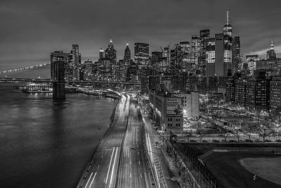 Photograph - Brooklyn Bridge And Manhattan Skyline by Susan Candelario