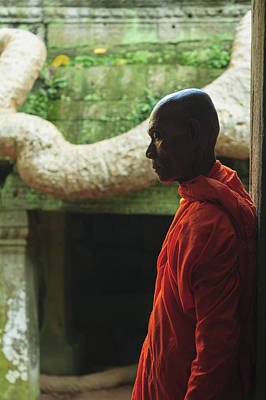 Photograph - Buddhist Monk Outside Ornate Temple by Cultura Rm Exclusive/stuart Westmorland