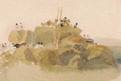Drawing - Building A Hayrick by Peter De Wint
