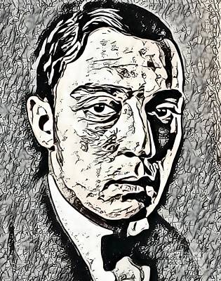 Digital Art Royalty Free Images - Buster Keaton, Hollywood Legend Royalty-Free Image by Mary Bassett