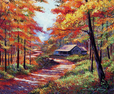 Painting - Cabin In The Woods by David Lloyd Glover