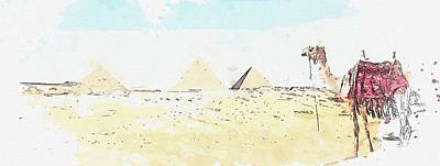 Landmarks Painting Royalty Free Images - Camel by the Pyramid -  watercolor by Ahmet Asar Royalty-Free Image by Ahmet Asar