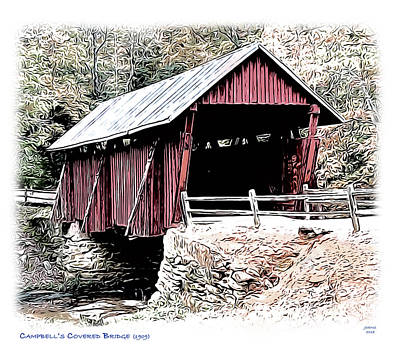 Digital Art Rights Managed Images - Campbells Covered Bridge Royalty-Free Image by Greg Joens