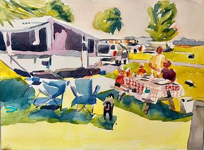 Painting - Camping  by Jo Mackenzie