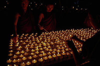 Thomas Kinkade Royalty Free Images - Candlelight Vigil at McLeod Ganj Temple Royalty-Free Image by Carol Ailles