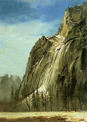 Photograph - Cathedral Rocks A Yosemite View by Albert Bierstadt