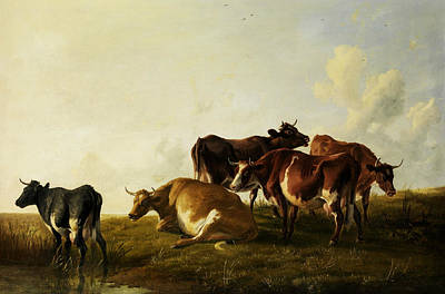 Painting - Cattle In The Pasture by Thomas Sidney Cooper