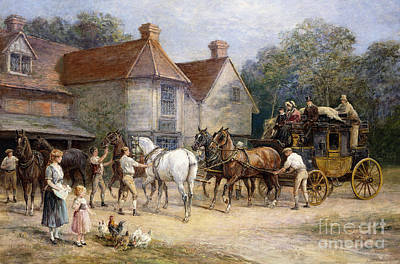 Painting - Changing Horses by Heywood Hardy
