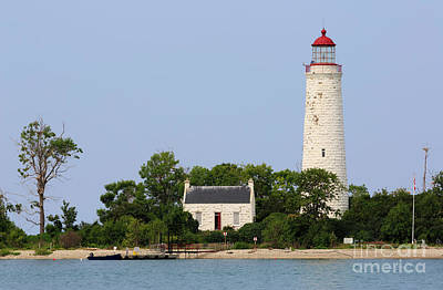 Photograph - Chantry Island Lighthouse And Lightkeepers Cottage On Lake Huron by Louise Heusinkveld
