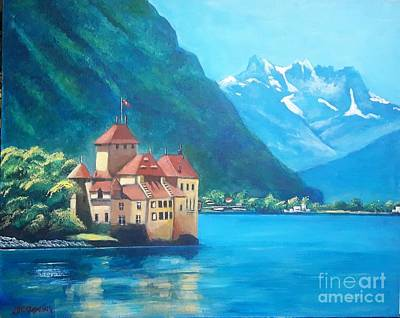 Painting - Chateau Chillon, Lac Leman, Suisse. by Jean Pierre Bergoeing