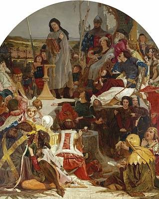 Westminster Abbey Wall Art - Painting - Chaucer At The Court Of Edward IIi by Ford Madox Brown
