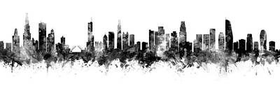 Digital Art - Chicago And Los Angeles Skylines Mashup by Michael Tompsett