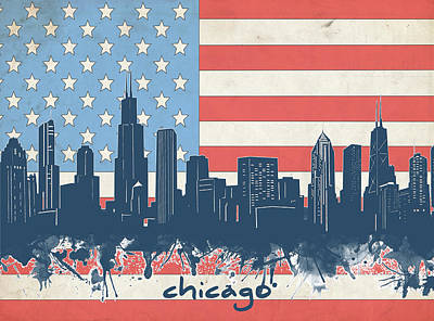 Skylines Royalty-Free and Rights-Managed Images - Chicago Skyline Flag by Bekim Art