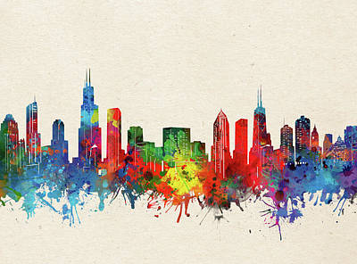 Abstract Skyline Royalty-Free and Rights-Managed Images - Chicago Skyline Watercolor by Bekim M