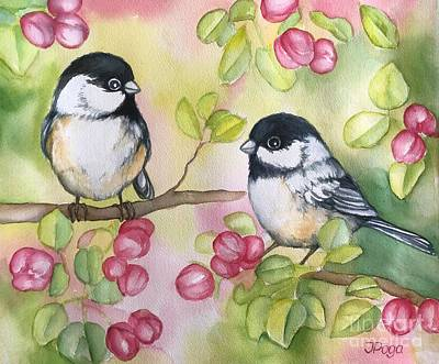 Painting - Chickadees by Inese Poga