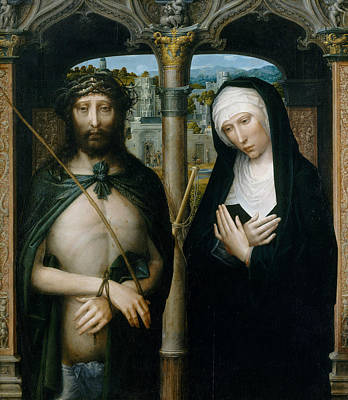 Painting - Christ Crowned With Thorns, And The Mourning Virgin by Adriaen Isenbrant