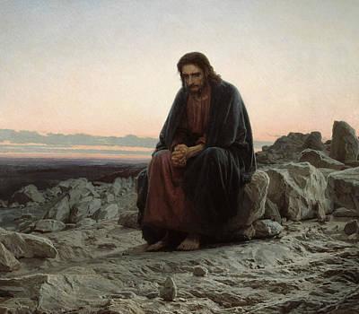 Painting - Christ In The Wilderness by Ivan Kramskoy