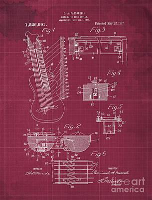 Musicians Drawings - CHROMATC BASS GUTAR Patent Year 1917 by Drawspots Illustrations