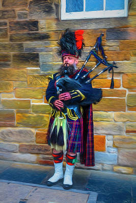 Photograph - City Bagpiper In Full Dress Painting by Debra and Dave Vanderlaan