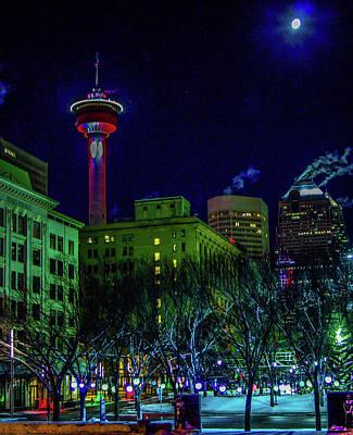 Photograph - City Of Calgary At Night, Calgary, Alberta, Canada by David Butler