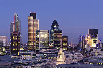 Financial District Photograph - City Of London Skyscrapers At Dusk by Dynasoar