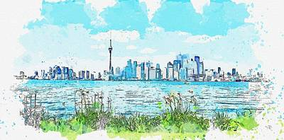 Abstract Skyline Rights Managed Images - cityscape canada, c 2019 watercolor, by Adam Asar Royalty-Free Image by Adam Asar