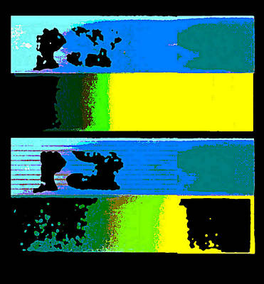 Digital Art - Cityscapel 4000 Original Fine Art Painting Digital Abstract Triptych by G Linsenmayer