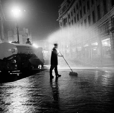 Photograph - Cleaning The Streets by Bert Hardy