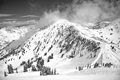 Photograph - Clouds Over Baldy Black And White by Adam Jewell