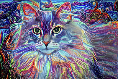 Digital Art - Colorful Long Haired Cat Art by Peggy Collins
