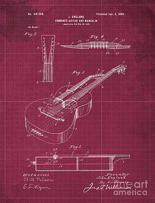 Royalty-Free and Rights-Managed Images - COMBINED GUITAR AND MANDOLIN Patent Year 1899 by Drawspots Illustrations