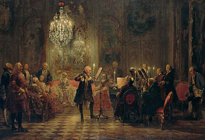 Painting - Concert For Flute With Frederick The Great In Sanssouci by Adolph Menzel