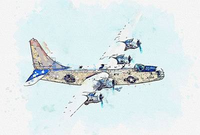 Amy Weiss - Consolidated P4Y-2 Privateer 3 watercolor by Ahmet Asar by Ahmet Asar