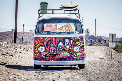 Photograph - Cool Volkswagon With Graffiti On Side Of The Road by Alex Grichenko